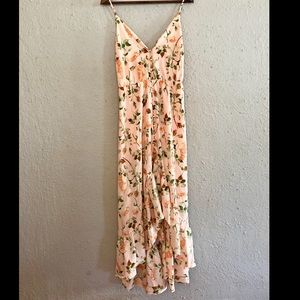 Misred Outfitters peach floral high low flowy maxi